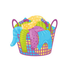 purple basket with handles full of dirty laundry vector image