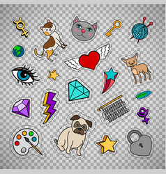 Quirky fashion patches on transparent background vector