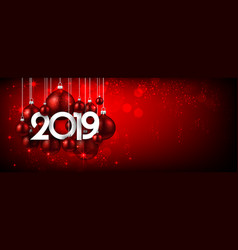 red festive 2019 new year banner with christmas vector image