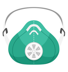 respirator green flat icon device protecting vector image