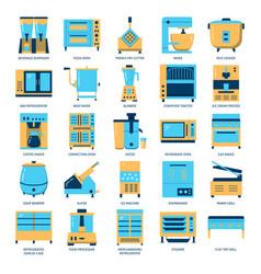 restaurant kitchen equipment icon set in flat vector image