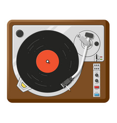 Retro vinyl player top view realistic vector