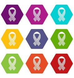 Ribbon lgbt icon set color hexahedron vector