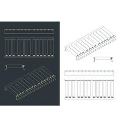 Roller conveyor blueprints vector