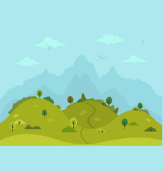 rural hilly landscape with trees and mountains vector image