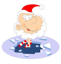 Santa claus winter swimming vector