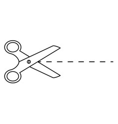 Scissors cut slice dividing icon vector