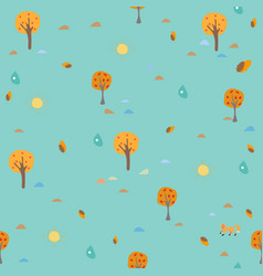seamless autumn pattern trees sun and drops of vector image