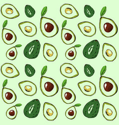 Seamless pattern colored avocado on a vector