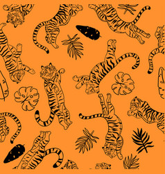 seamless pattern with jumping tigers and tropical vector image