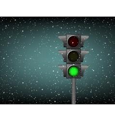 Semaphore green light snow vector