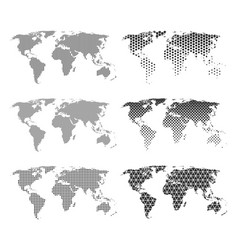 set six world maps with different patterns vector image