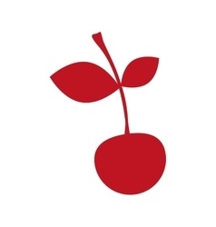 Silhouette red color with cherry fruit vector
