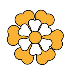 Single yellow flower icon image vector