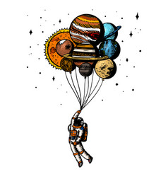 Soaring spaceman astronaut with planets balloons vector