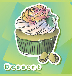 sticker with pistachio cake vector image