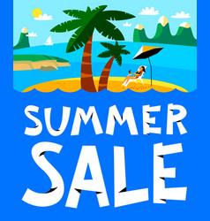 summer shopping background summer sale lettering vector image