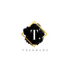 T letter logo design with black stroke and golden vector