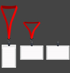 Three white lanyard with red holder vector