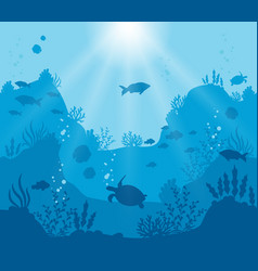 Underwater world on a deep blue vector