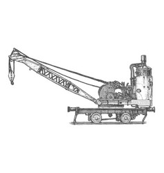 Vintage steam crane vector