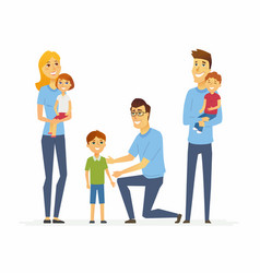 volunteers help children - cartoon people vector image