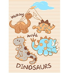 walking with dinosaurs vector image