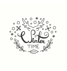 Winter time card winter holiday typography vector