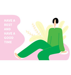 woman have rest and good time advertising banner vector image