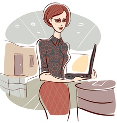 Woman in office vector