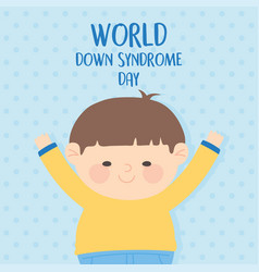 world down syndrome day little boy character vector image