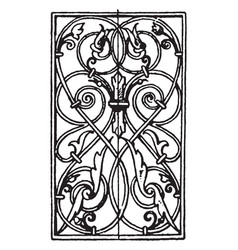 Wrought-iron oblong panel is german renaissance vector