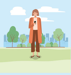 young business woman chatting with smartphone on vector image
