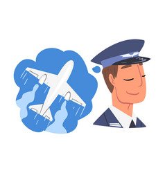 Young man dreaming about airplane flights vector