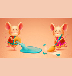 Zodiac rat with broom cny mouse pours out water vector