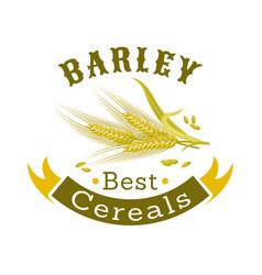 Barley grain badge for food packaging design vector
