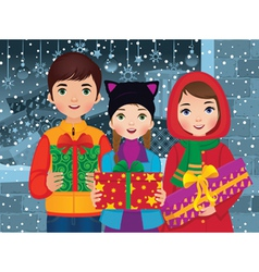 Children enjoyed a Christmas vector image vector image