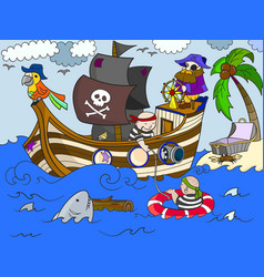 Children on the theme of pirates vector