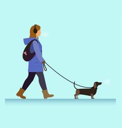 Girl with dog walking vector