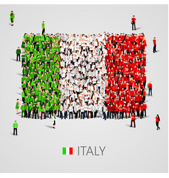 Large group of people in the italy flag shape vector