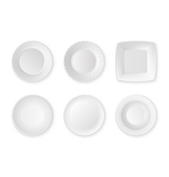 realistic white food empty plate icon set vector image vector image