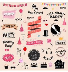 Set of party icons signs and symbols vector image