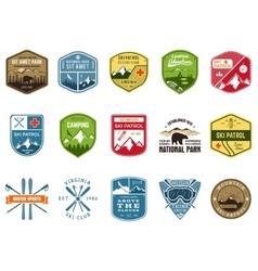 Set of ski club patrol labels vintage mountain vector