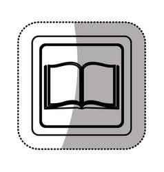 silhouette emblem book open icon vector image