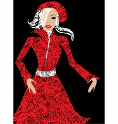 stylish woman in red vector image