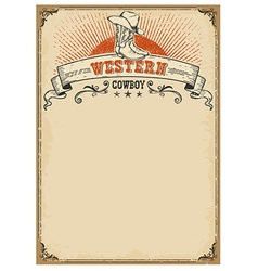 American western background with boots and cowboy vector image vector image