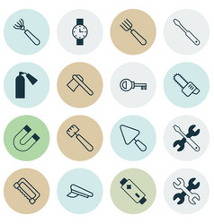 Apparatus icons set collection of putty tomahawk vector