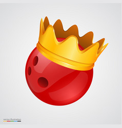 bowling ball with a golden crown vector image vector image