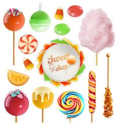 Candy set swirl caramel cotton candy sweet vector