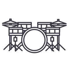 drums set line icon sign on vector image
